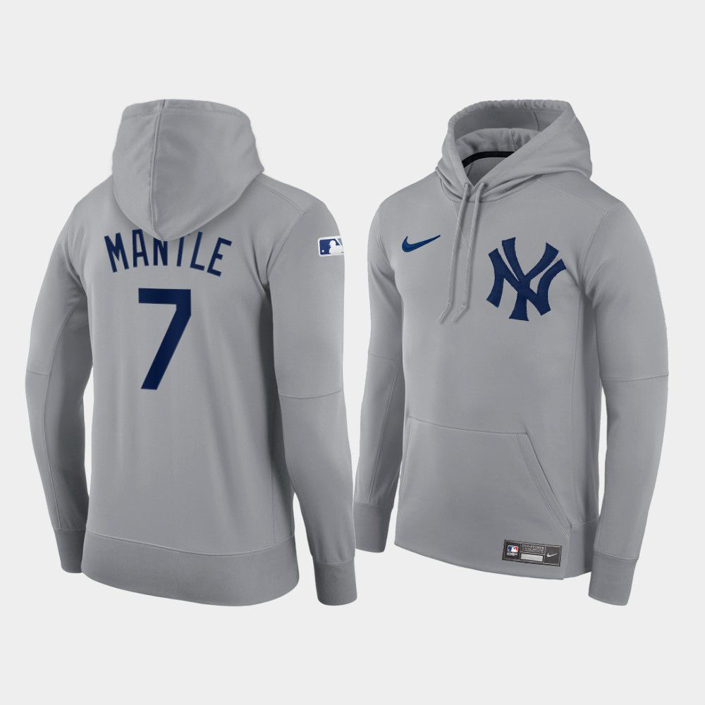 Cheap Men New York Yankees 7 Mantle gray hoodie 2021 MLB Nike Jerseys